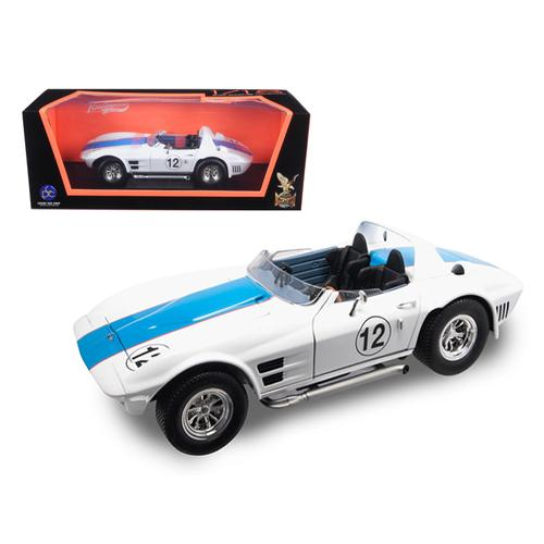 1964 Chevrolet Corvette Grand Sport Roadster #12 White 1/18 Diecast Model Car by Road Signature