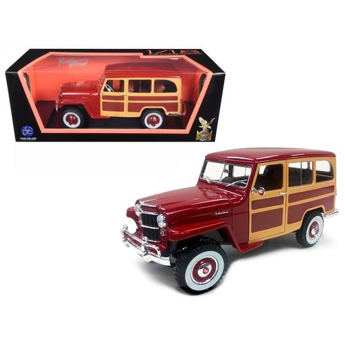 1955 Willys Jeep Station Wagon Burgundy 1/18 Diecast Model Car by Road Signature