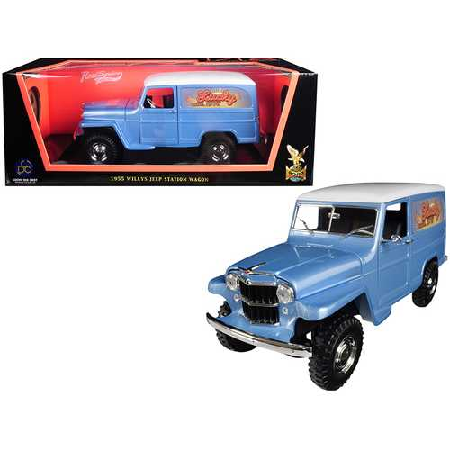 """1955 Willys Jeep Station Wagon Silver Blue with White Top """"Lucky"""" 1/18 Diecast Model Car by Road Signature"""