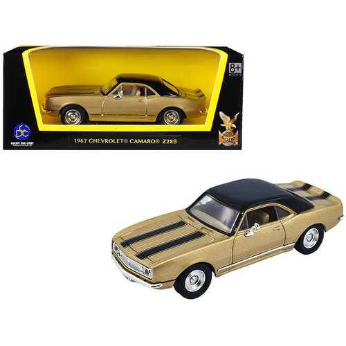 1967 Chevrolet Camaro Z-28 Gold with Black Stripes and Black Top 1/43 Diecast Model Car by Road Signature