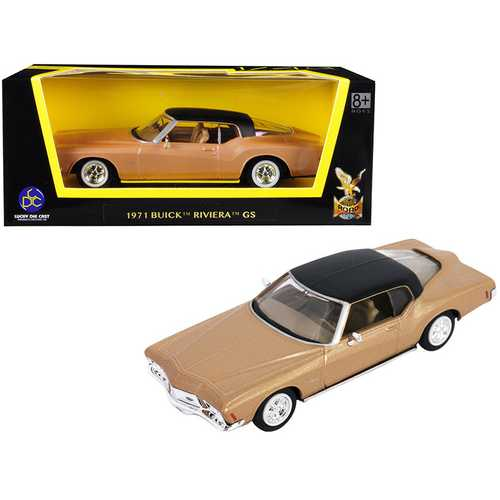 1971 Buick Riviera GS Gold with Black Top 1/43 Diecast Model Car by Road Signature