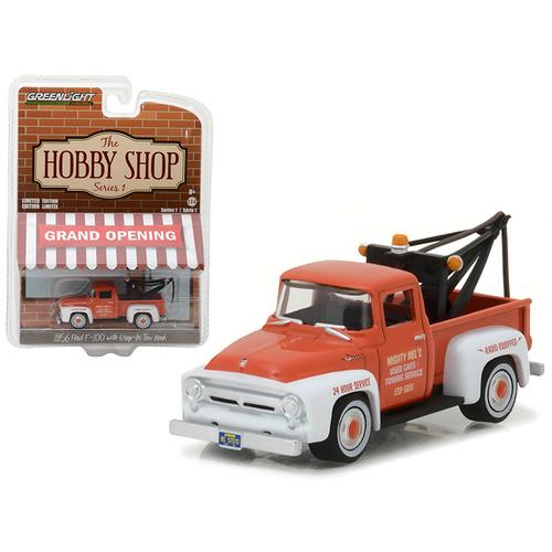 """1956 Ford F-100 Red and White with Drop-in Tow Hook """"The Hobby Shop"""" Series 1 1/64 Diecast Model Car by Greenlight"""