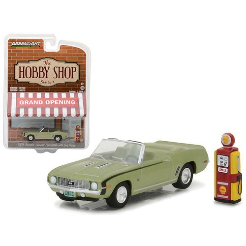 """1969 Chevrolet Camaro Convertible Green with Vintage Gas Pump """"The Hobby Shop"""" Series 1 1/64 Diecast Model Car by Greenlight"""