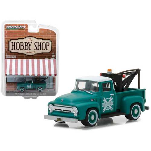 """1956 Ford F-100 Green with Drop-in Tow Hook """"The Hobby Shop"""" Series 2 1/64 Diecast Model Car by  Greenlight"""