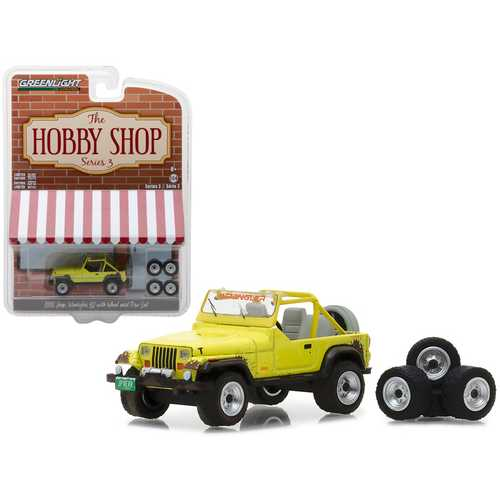 "1991 Jeep YJ Yellow with Wheel and Tire Set ""The Hobby Shop"" Series 3 1/64 Diecast Model Car by Greenlight"