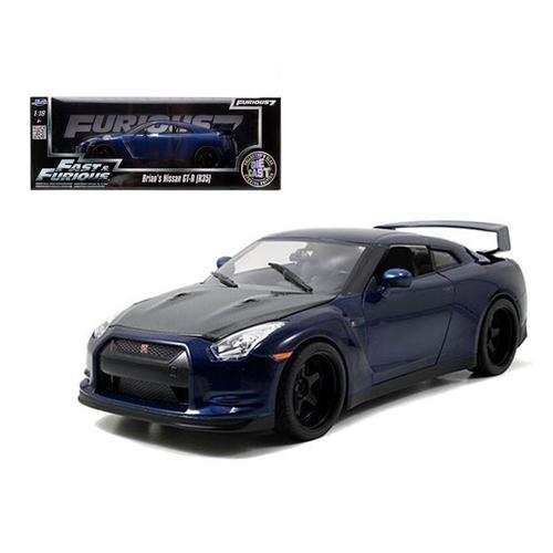 "Brian\'s Nissan GTR R35 Blue \""Fast & Furious 7\"" Movie 1/18 Diecast Model Car by Jada"