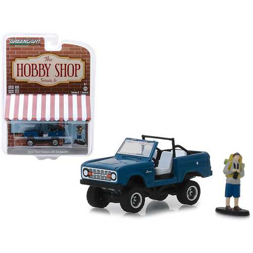 "1967 Ford Bronco Dark Blue (Doors Removed) with Backpacker Figure ""The Hobby Shop"" Series 6 1/64 Diecast Model Car by Greenlight"
