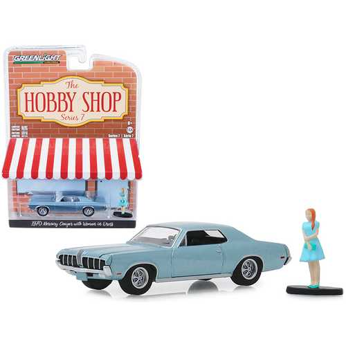 """1970 Mercury Cougar Light Blue Metallic with Woman in Dress Figurine """"The Hobby Shop"""" Series 7 1/64 Diecast Model Car by Greenlight"""