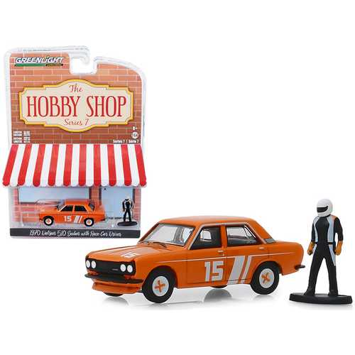 "1970 Datsun 510 4-Door Sedan #15 Orange with Race Car Driver Figurine ""The Hobby Shop"" Series 7 1/64 Diecast Model Car by Greenlight"