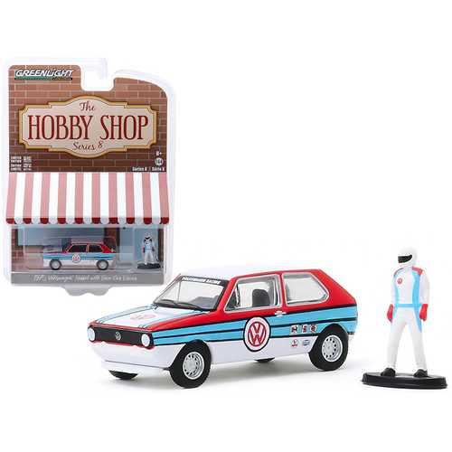 """1975 Volkswagen Rabbit White with Stripes and Race Car Driver Figurine """"The Hobby Shop"""" Series 8 1/64 Diecast Model Car by Greenlight"""
