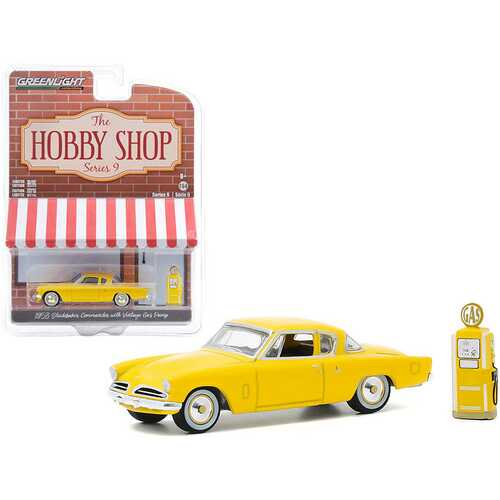 "1953 Studebaker Commander Yellow with Vintage Gas Pump ""The Hobby Shop"" Series 9 1/64 Diecast Model Car by Greenlight"