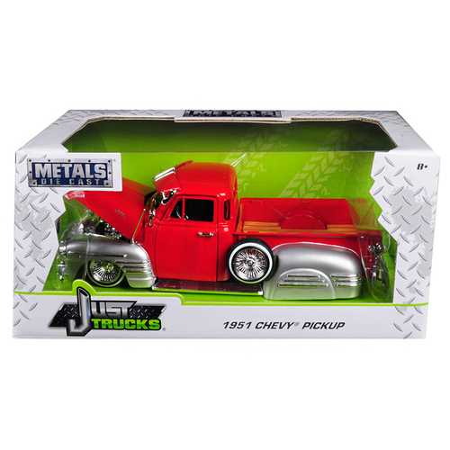 1951 Chevrolet Pickup Truck Lowrider Red / Silver 1/24 Diecast Car Model by Jada