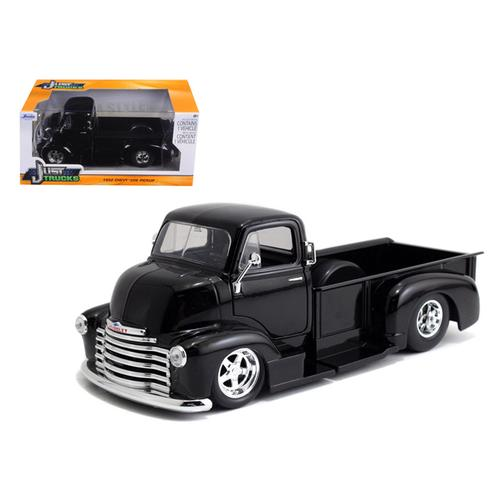 1952 Chevrolet COE Pickup Truck Black with Chrome Wheels 1/24 Diecast Model by Jada