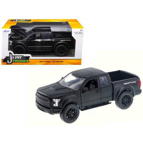 2017 Ford F-150 Raptor Pickup Truck Matt Black 1/24 Diecast Model Car by Jada