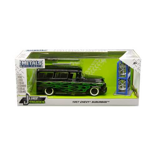 "1957 Chevrolet Suburban Black with Green Flames and Extra Wheels ""Just Trucks"" Series 1/24 Diecast Model Car by Jada"