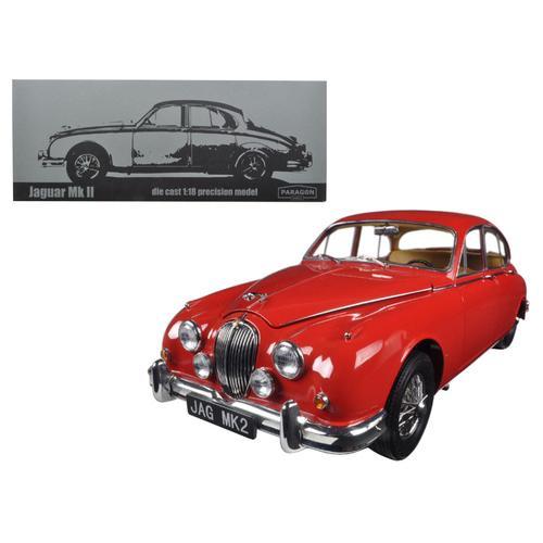 1962 Jaguar Mark 2 3.8 Carmen Red Left Hand Drive 1/18 Diecast Model Car by Paragon