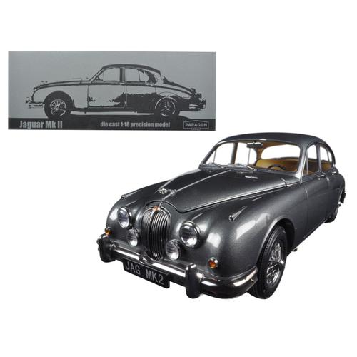 1962 Jaguar Mark 2 3.8 Gunmetal Left Hand Drive 1/18 Diecast Model Car by Paragon