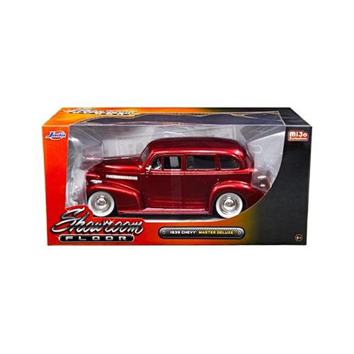 "1939 Chevrolet Master Deluxe Red with baby Moon Wheels ""Showroom Floor"" 1/24 Diecast Model Car by Jada"