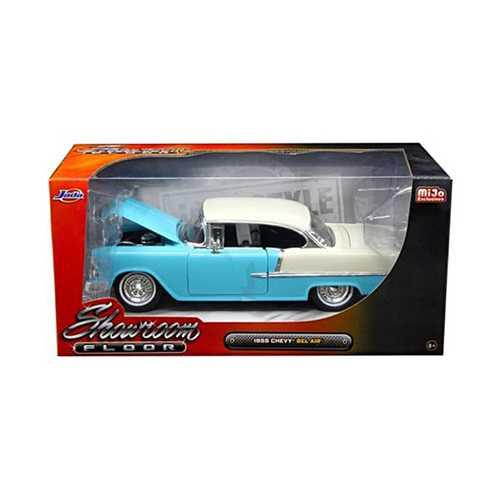 """1955 Chevrolet Bel Air Hard Top Blue """"Showroom Floor"""" 1/24 Diecast Model Car by Jada"""