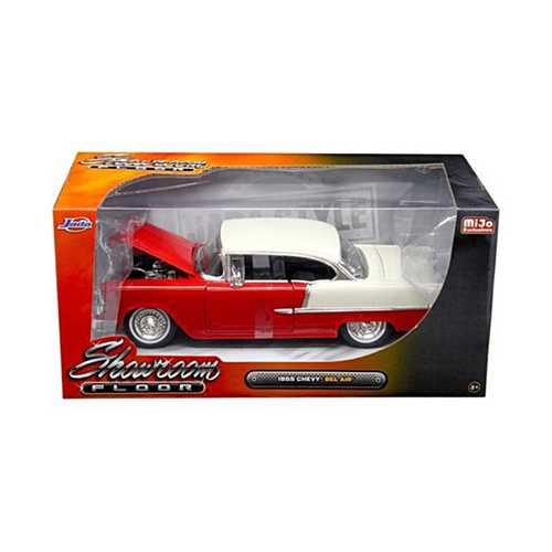 """1955 Chevrolet Bel Air Hard Top Red """"Showroom Floor"""" 1/24 Diecast Model Car by Jada"""