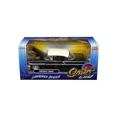 "1958 Chevrolet Impala Black ""Lowrider Series"" Street Low 1/24 Diecast Model Car by Jada"