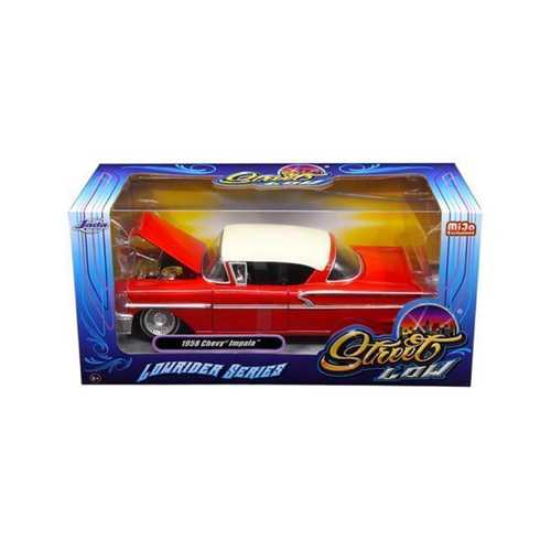 "1958 Chevrolet Impala Red ""Lowrider Series"" Street Low 1/24 Diecast Model Car by Jada"