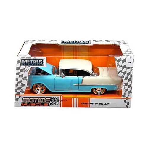 """1955 Chevrolet Bel Air Blue """"Bigtime Muscle"""" 1/24 Diecast Model Car by Jada"""