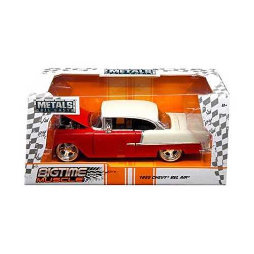 """1955 Chevrolet Bel Air Red """"Bigtime Muscle"""" 1/24 Diecast Model Car by Jada"""
