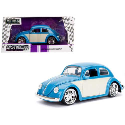 "1959 Volkswagen Beetle Light Blue and Cream ""Bigtime Kustoms"" 1/24 Diecast Model Car by Jada"