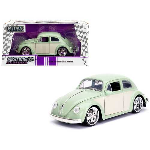 "1959 Volkswagen Beetle Light Green and Cream ""Bigtime Kustoms"" 1/24 Diecast Model Car by Jada"