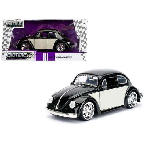 "1959 Volkswagen Beetle Black and Cream ""Bigtime Kustoms"" 1/24 Diecast Model Car by Jada"