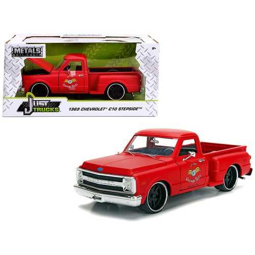 "1969 Chevrolet C10 Stepside Pickup Truck Matt Red ""Garage Nuts"" ""Just Trucks"" Series 1/24 Diecast Model Car by Jada"
