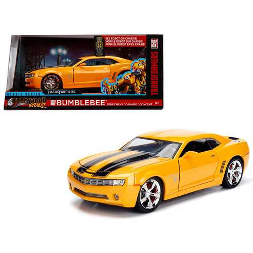 "2006 Chevrolet Camaro Concept Bumblebee Yellow from ""Transformers\"" Movie \""Hollywood Rides\"" Series 1/24 Diecast Model Car by Jada Metals"