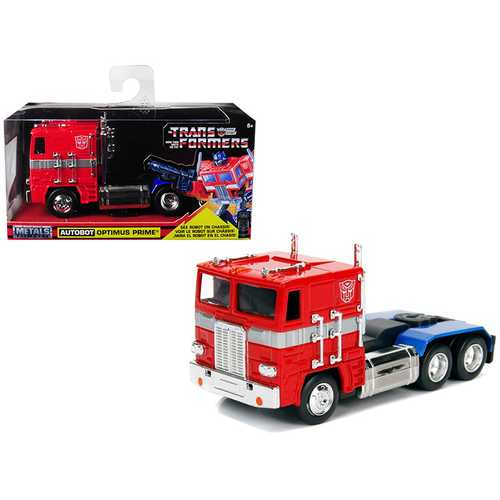 "G1 Autobot Optimus Prime Truck Red with Robot on Chassis from ""Transformers"" TV Series ""Hollywood Rides"" Series Diecast by Jada"