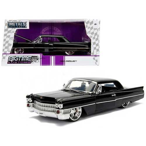 "1963 Cadillac Black ""Bigtime Kustoms"" 1/24 Diecast Model Car by Jada"