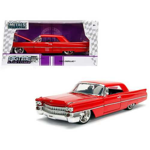 "1963 Cadillac Red ""Bigtime Kustoms"" 1/24 Diecast Model Car by Jada"