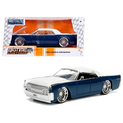 1963 Lincoln Continental Navy Blue with White Top 1/24 Diecast Model Car by Jada