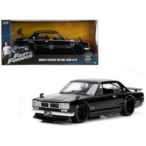 "Brian\'s Nissan Skyline 2000 GT-R Black from ""The Fast and the Furious\"" Movie 1/24 Diecast Model Car by Jada"
