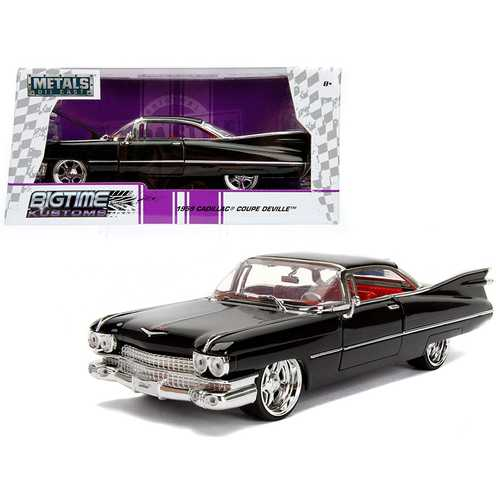 1959 Cadillac Coupe DeVille Black 1/24 Diecast Model Car by Jada