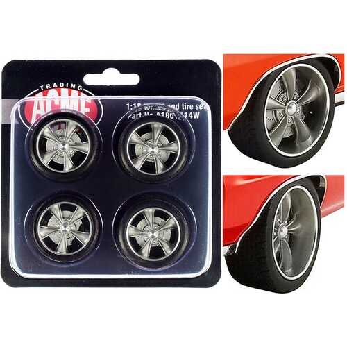 "Street Fighter Torque Thrust Wheel and Tire Set of 4 pieces from ""1970 Pontiac GTO Street Fighter ""The Prosecutor"" 1/18 by ACME"