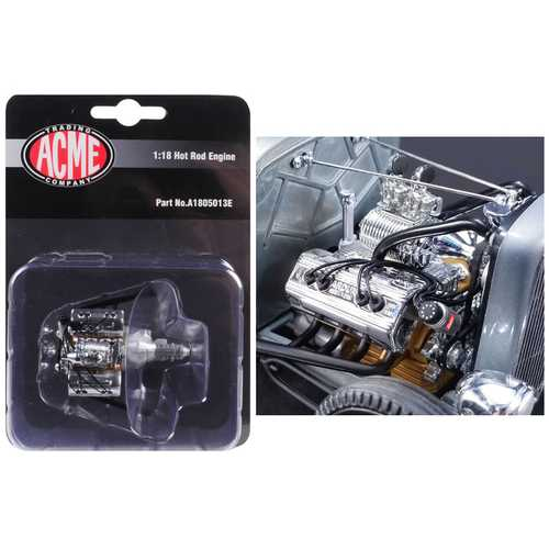 Engine and Transmission Replica Chromed Blown Ardun Flathead from 1932 Ford 5 Window 1/18 Model by Acme