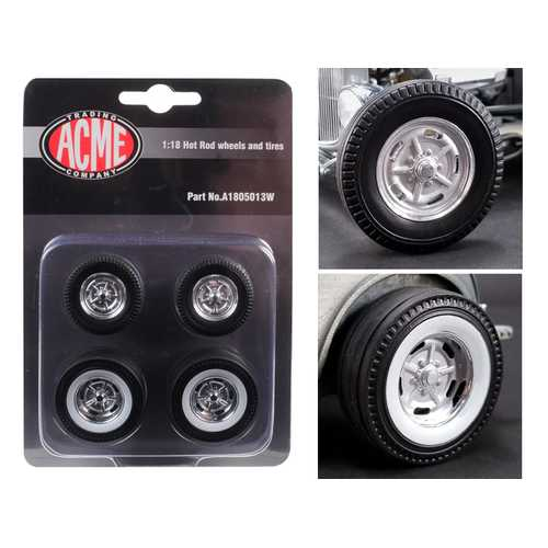 "Chrome Salt Flat Wheel and Tire Set of 4 pieces from ""1932 Ford 5 Window Hot Rod"" 1/18 by Acme 1/18 by Acme"