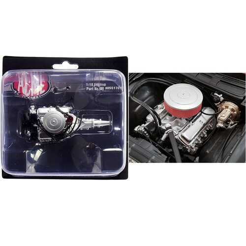 """454 Chevy Big Block Engine with 5 Speed Transmission Replica from """"1970 Chevrolet Chevelle 454 SS Street Fighter """"G-Force"""" 1/18 by ACME"""