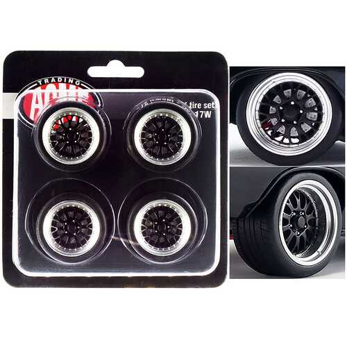 "Street Fighter Pro Touring Wheel and Tire Set of 4 pieces from ""1970 Chevrolet Chevelle 454 SS Street Fighter G-Force"" 1/18 by ACME"