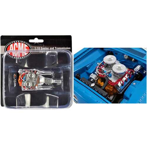 """Engine and Transmission 426 Hemi Replica from """"1969 Plymouth Hemi Barracuda """"Street Fighter"""" 1/18 by ACME"""