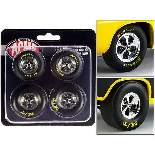 "Drag Wheel and Tire Set of 4 pieces from ""1972 Plymouth HEMI Drag Barracuda"" 1/18 by ACME"