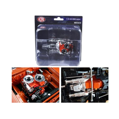 Engine with Headers and Transmission Replica Hemi Bullet Hemi 426 1/18 by Acme