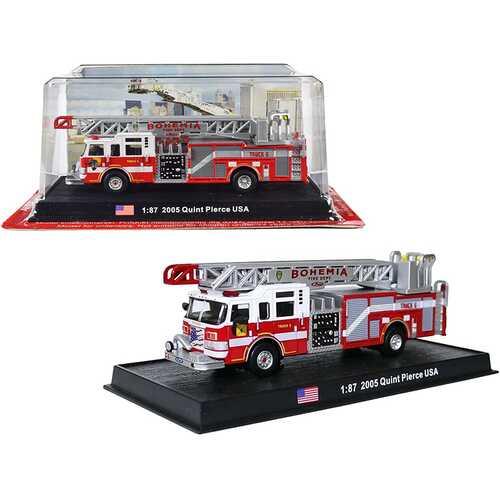 "2005 Pierce Velocity 75' Quint Aerial and Pump Fire Engine ""Bohemia Fire Dept."" Bohemia (New York) 1/87 (HO) Scale Diecast Model by Amercom"