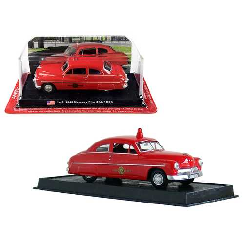 """1949 Mercury Coupe Red """"Fire Chief"""" 1/43 Diecast Model Car by Amercom"""