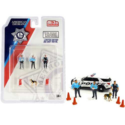 """""""Metropolitan Police"""" 8 piece Diecast Set (3 Figurines and 1 Dog and 4 Accessories) for 1/64 Scale Models by American Diorama"""